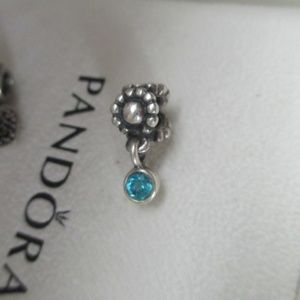 PANDORA DAISY BLUE TOPAZ DEW DROP CZ DANGLE CHARM